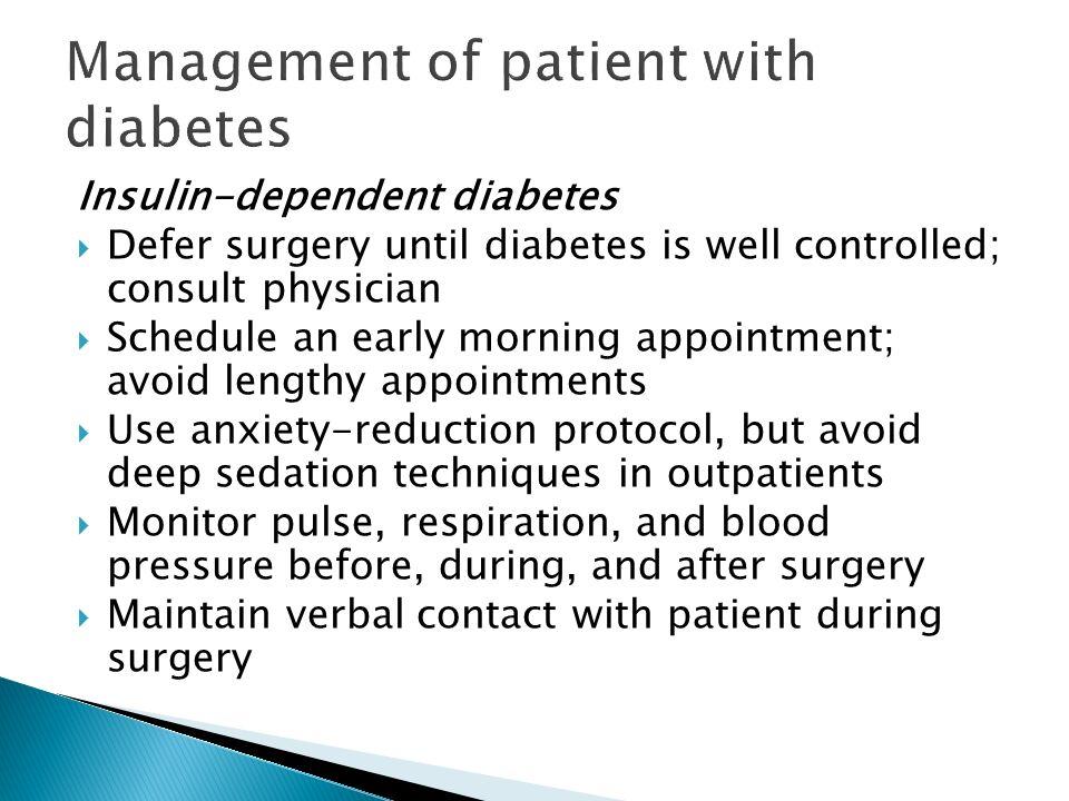 Management of patient with diabetes