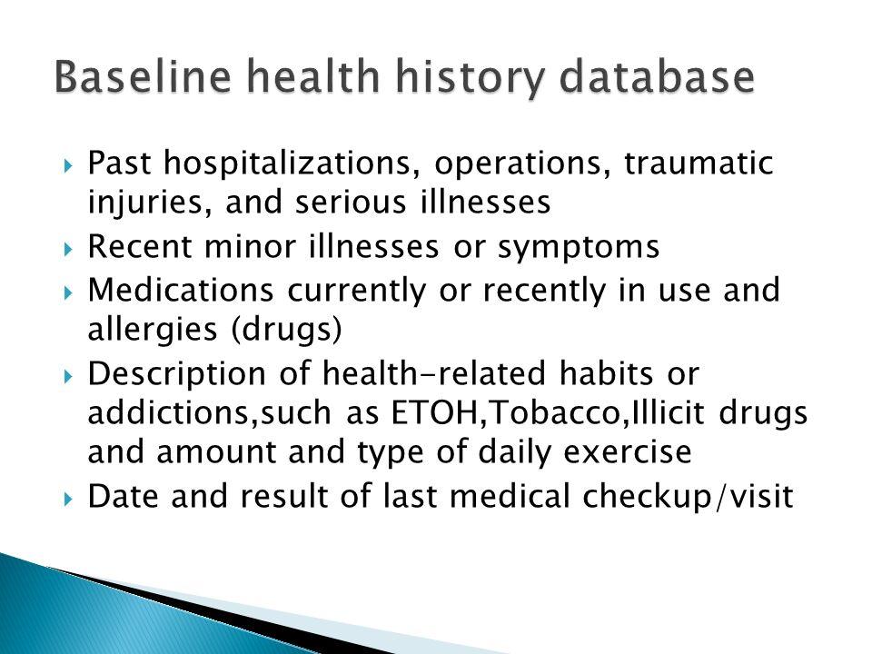 Baseline health history database
