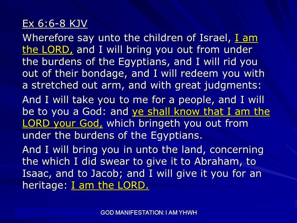 GOD MANIFESTATION: I AM YHWH