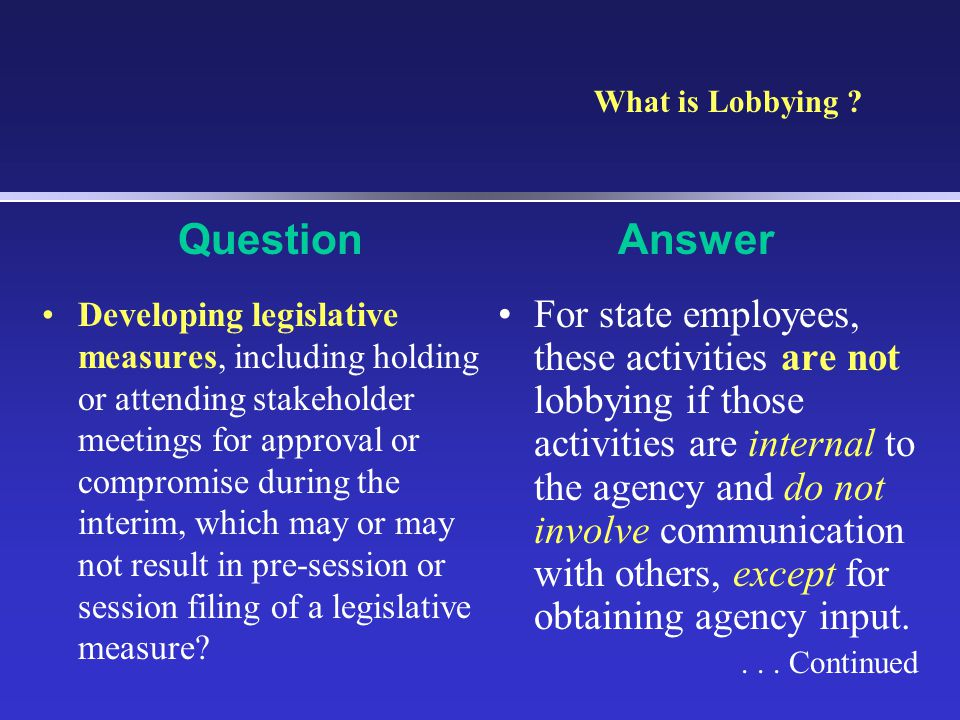 What is Lobbying Question. Answer.