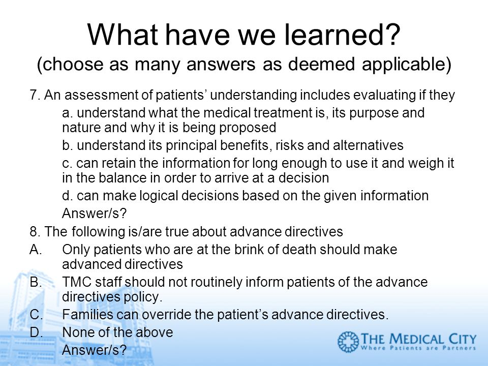 What have we learned (choose as many answers as deemed applicable)