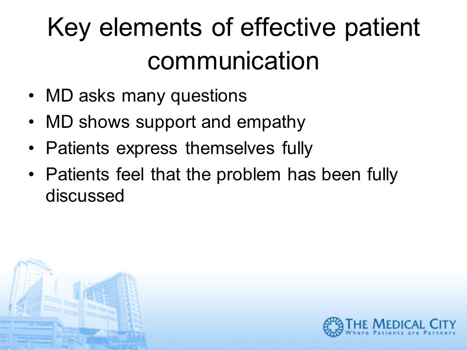 Key elements of effective patient communication