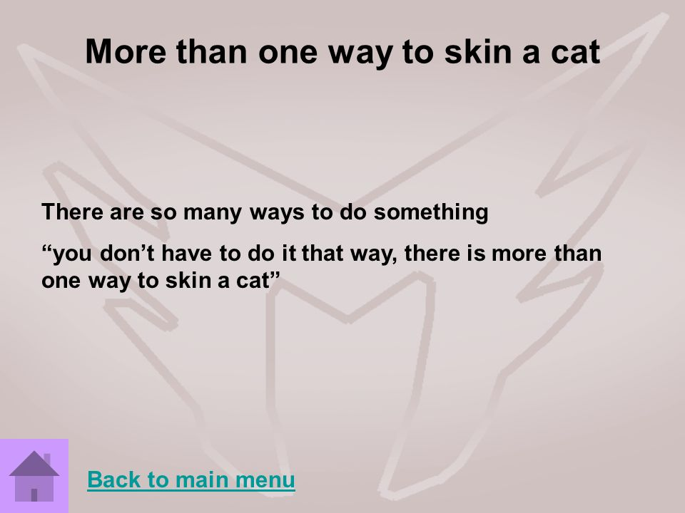More than one way to skin a cat