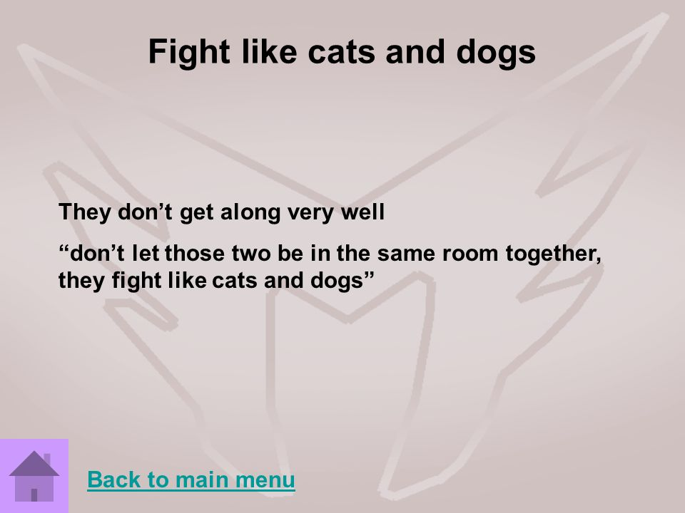 Fight like cats and dogs