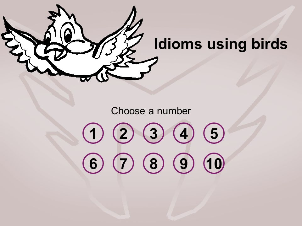 Idioms using birds Choose a number 1 2 3 4 5 6 7 8 9 10