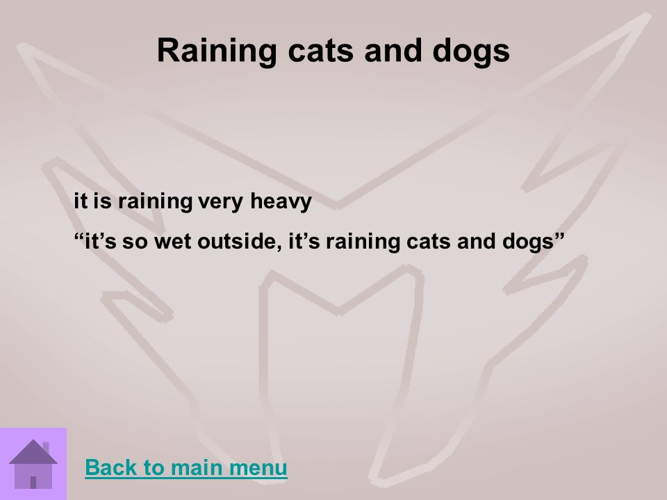 Raining cats and dogs it is raining very heavy
