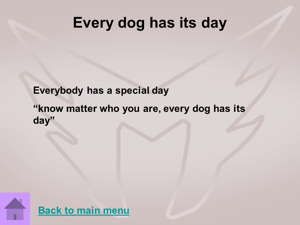 Every dog has its day Everybody has a special day