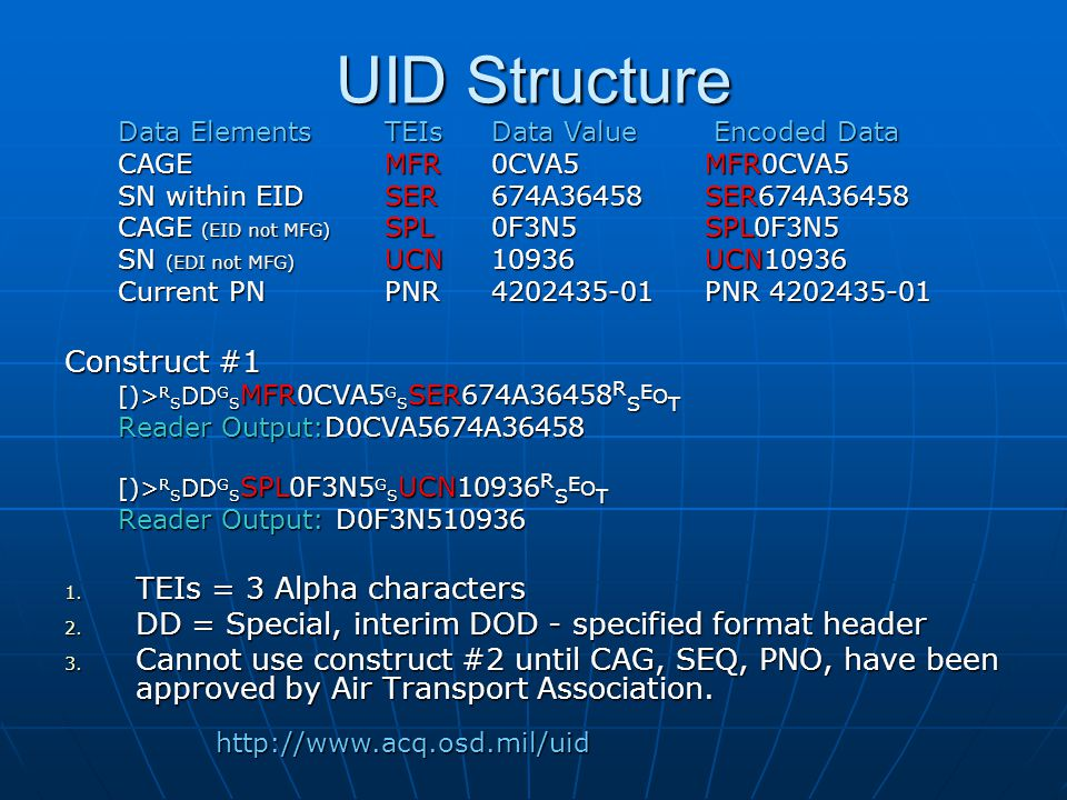 UID Structure Construct #1 TEIs = 3 Alpha characters