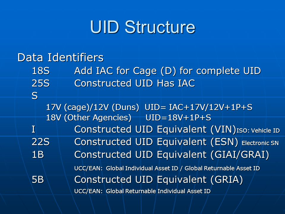 UID Structure Data Identifiers