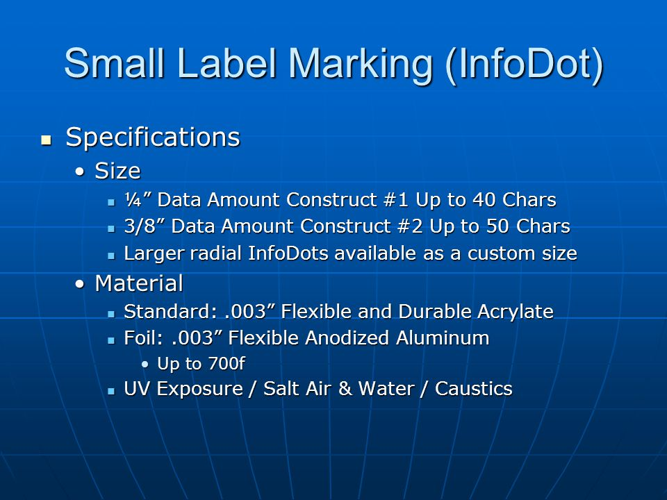 Small Label Marking (InfoDot)