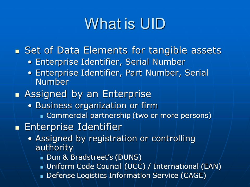 What is UID Set of Data Elements for tangible assets