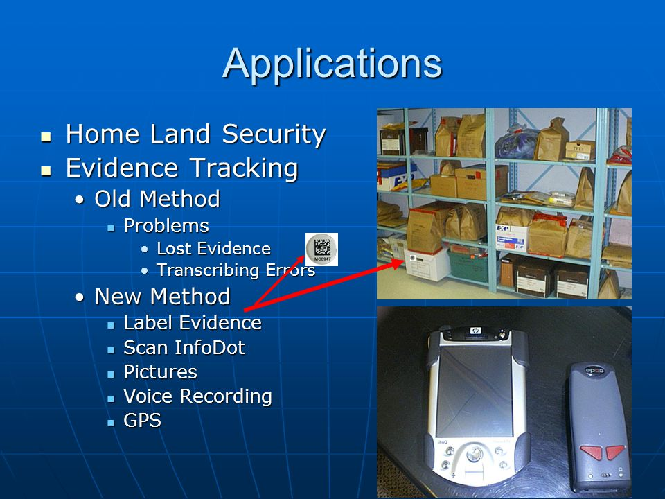 Applications Home Land Security Evidence Tracking Old Method