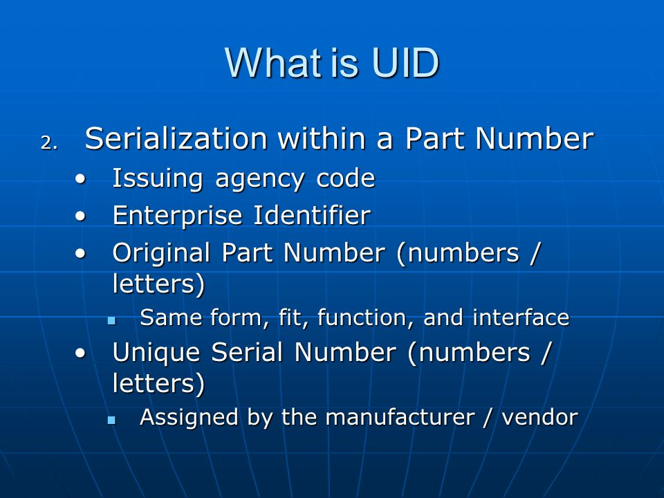 What is UID Serialization within a Part Number Issuing agency code