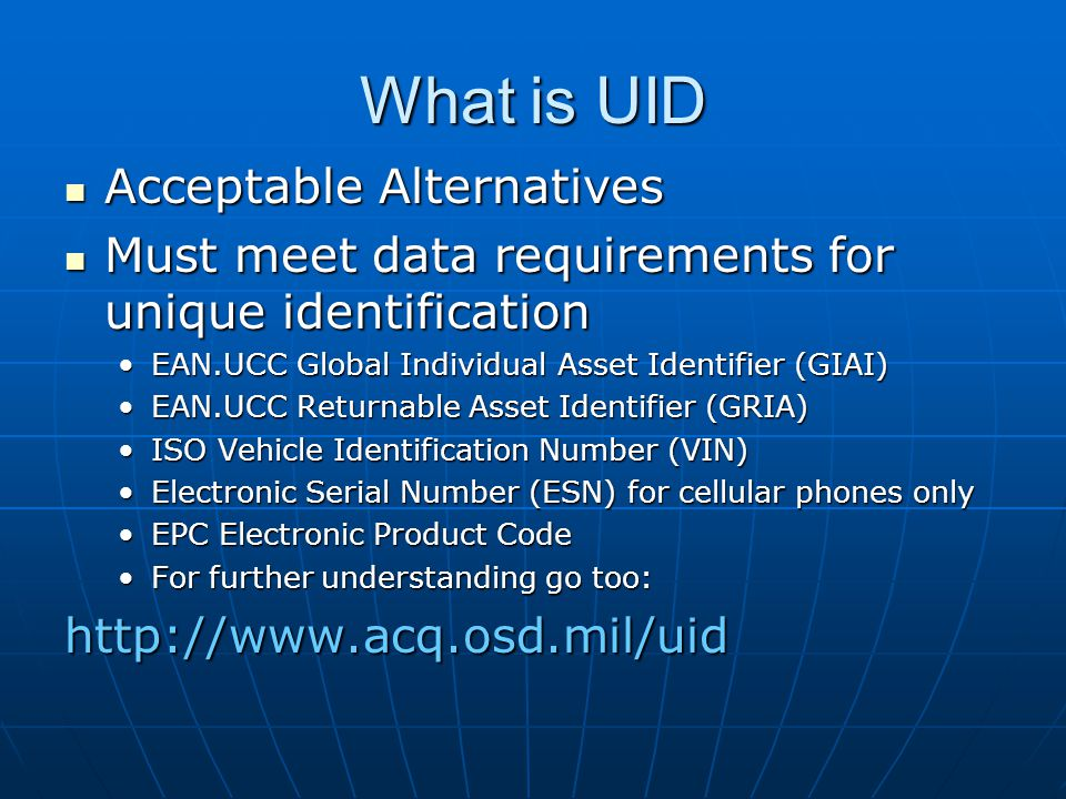 What is UID Acceptable Alternatives