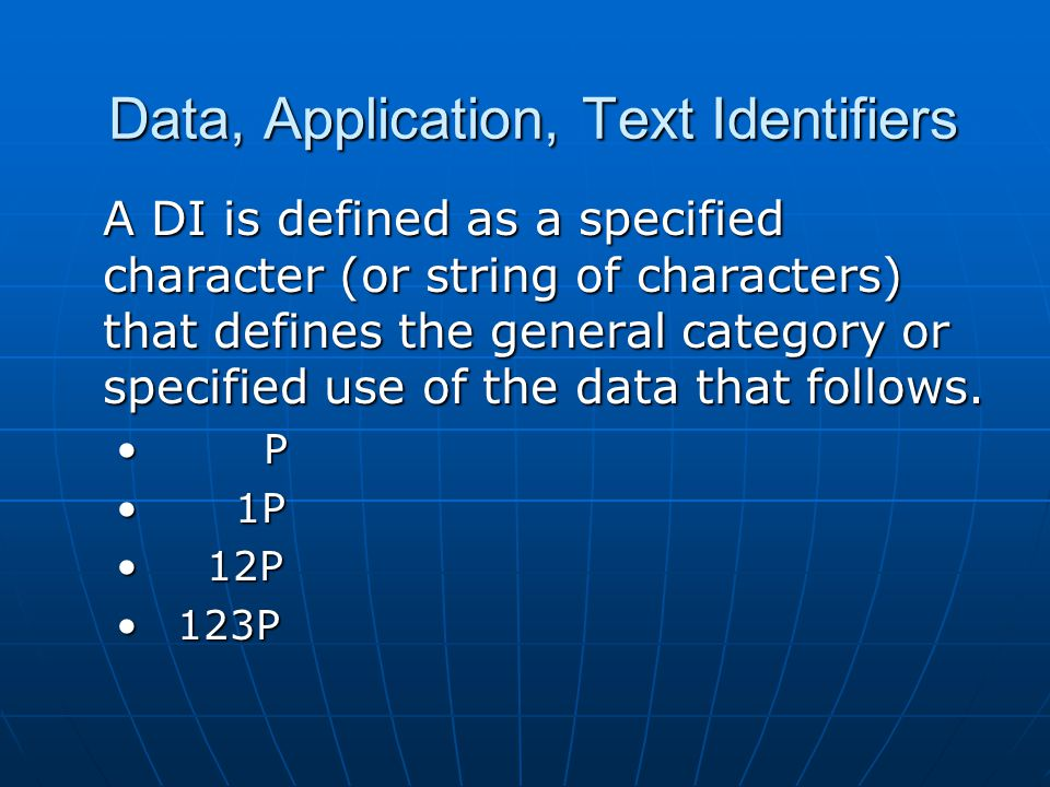 Data, Application, Text Identifiers