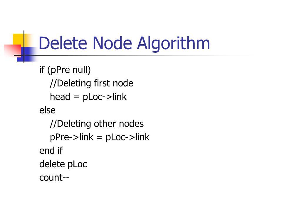 Delete Node Algorithm if (pPre null) //Deleting first node