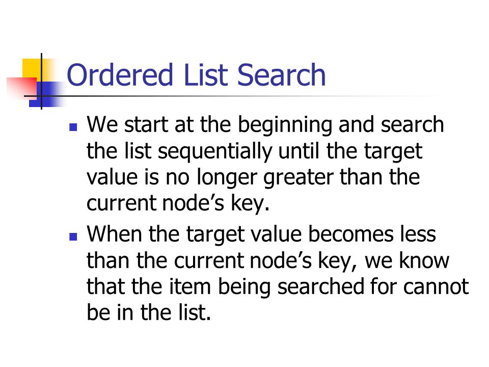 Ordered List Search