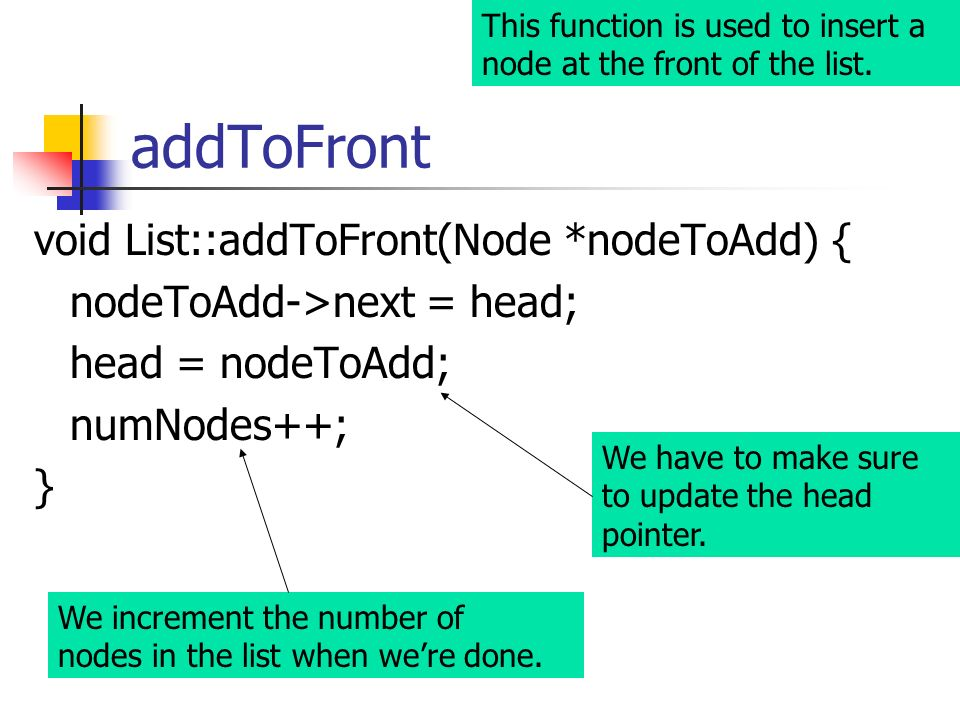 addToFront void List::addToFront(Node *nodeToAdd) {