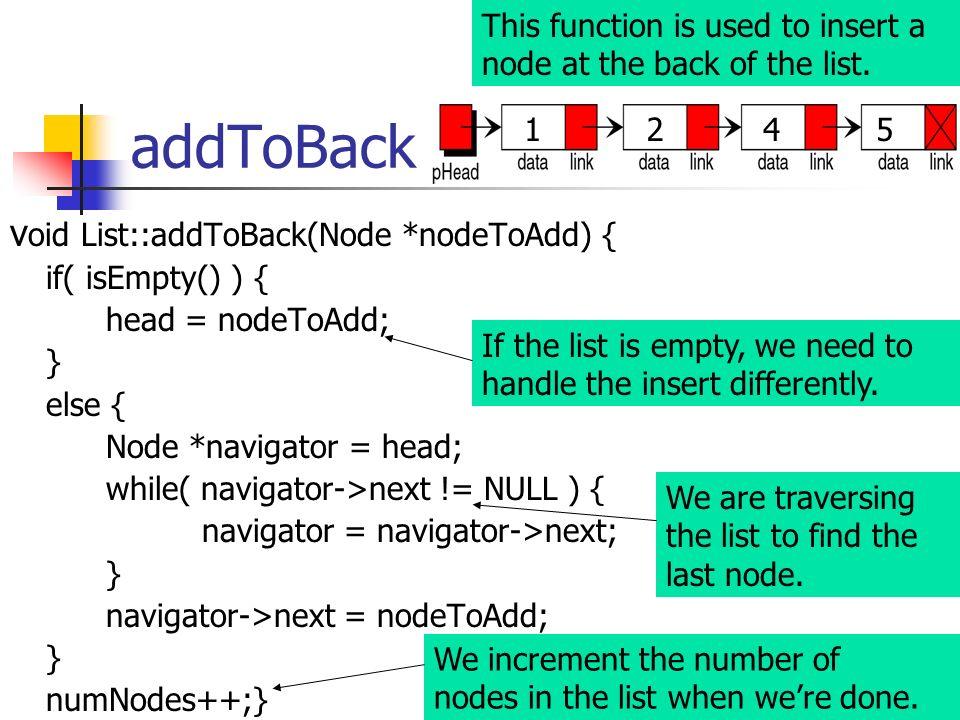 addToBack void List::addToBack(Node *nodeToAdd) {