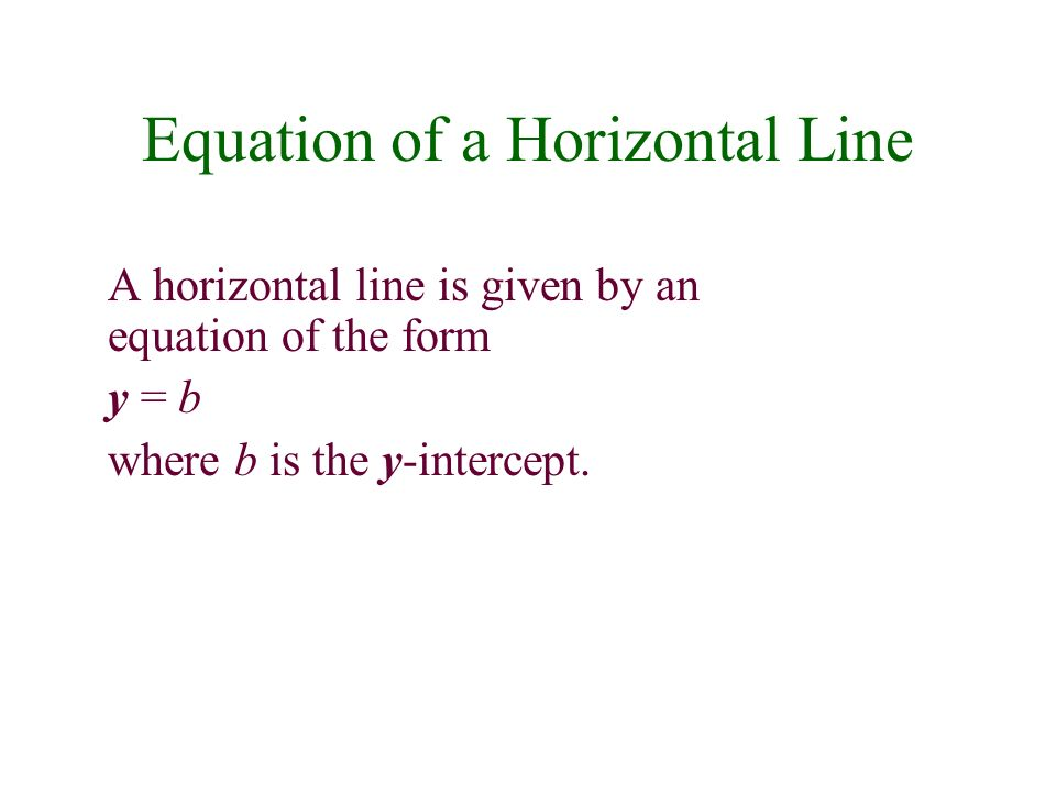 Equation of a Horizontal Line