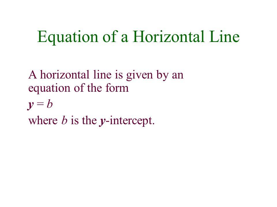 Equation of a Horizontal Line