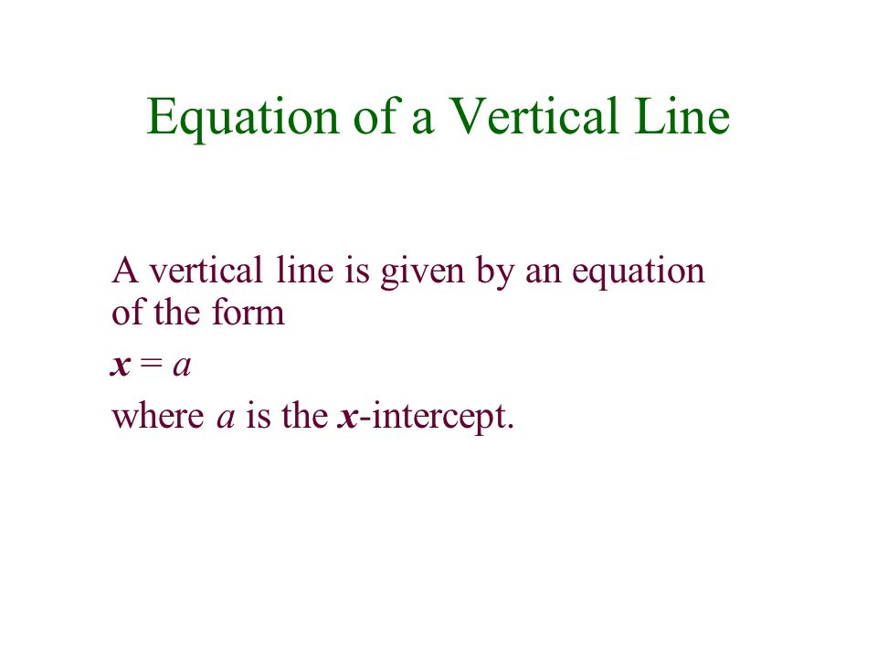 Equation of a Vertical Line