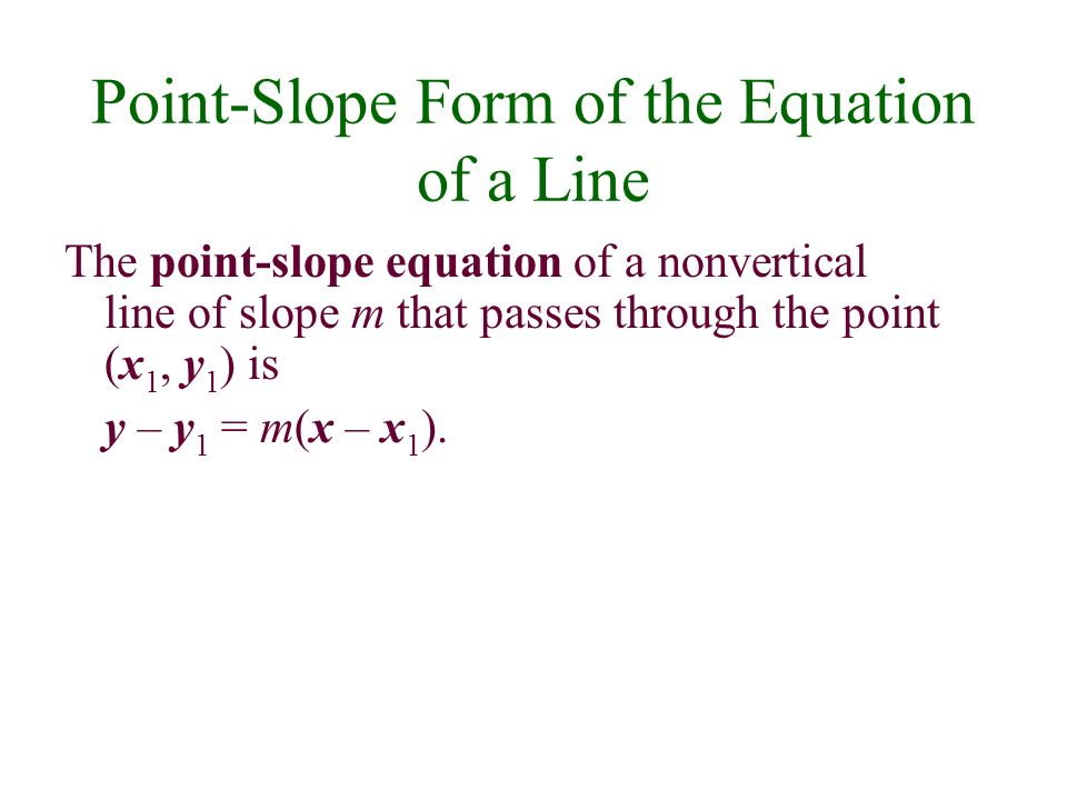 Point-Slope Form of the Equation of a Line