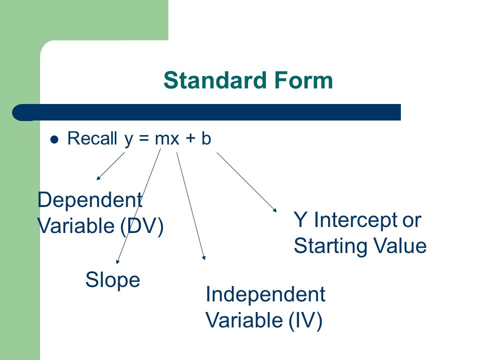 Standard Form Dependent Variable (DV) Y Intercept or Starting Value