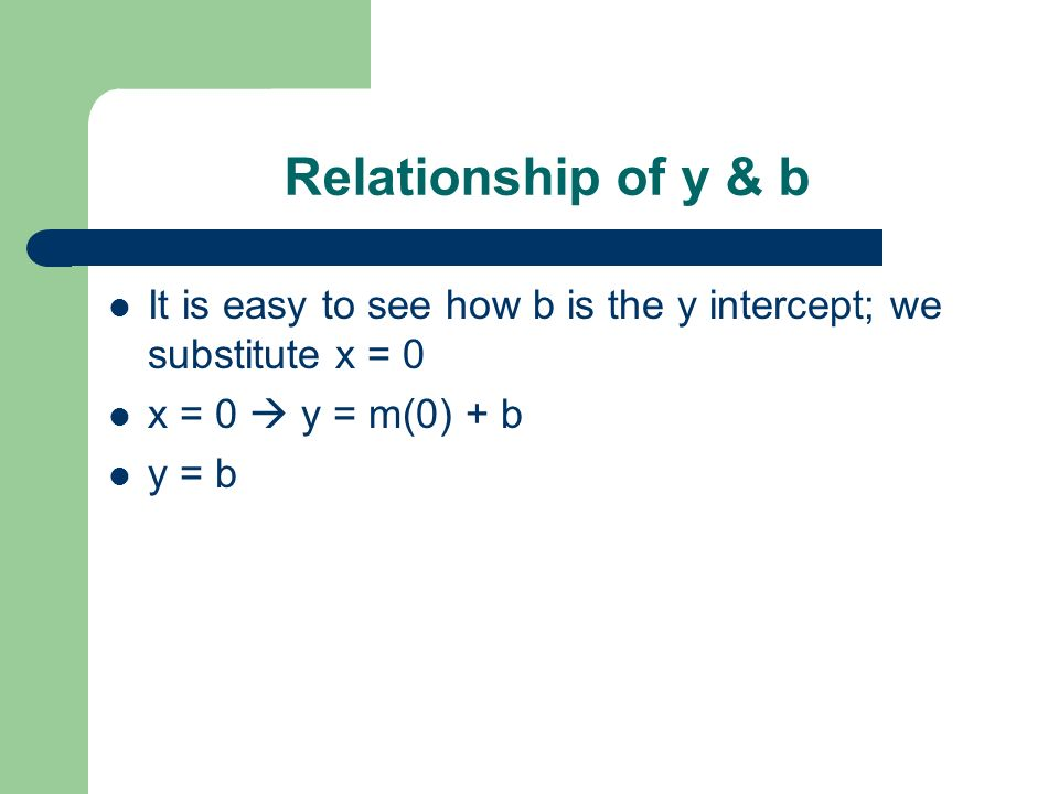 Relationship of y & b It is easy to see how b is the y intercept; we substitute x = 0. x = 0  y = m(0) + b.