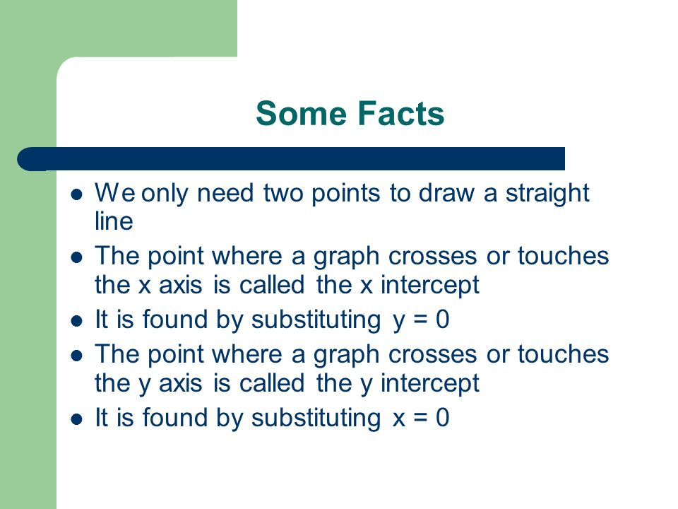 Some Facts We only need two points to draw a straight line
