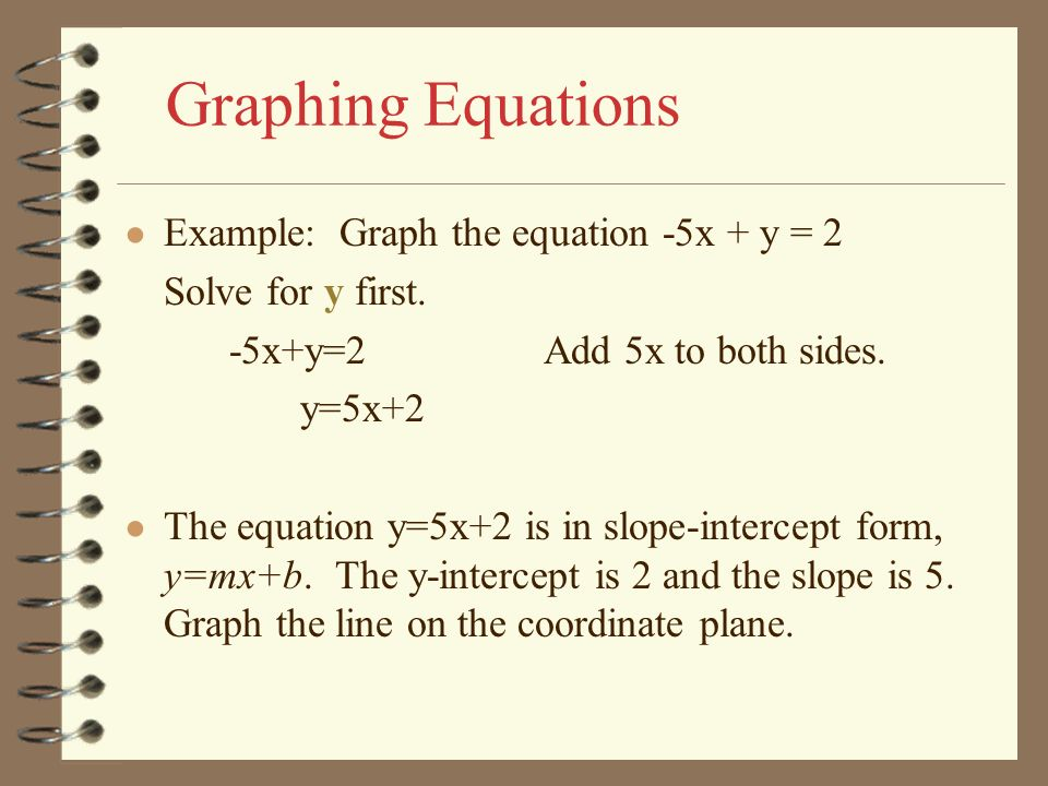 Graphing Equations Example: Graph the equation -5x + y = 2