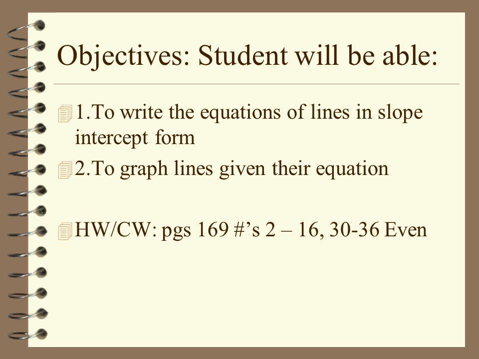 Objectives: Student will be able: