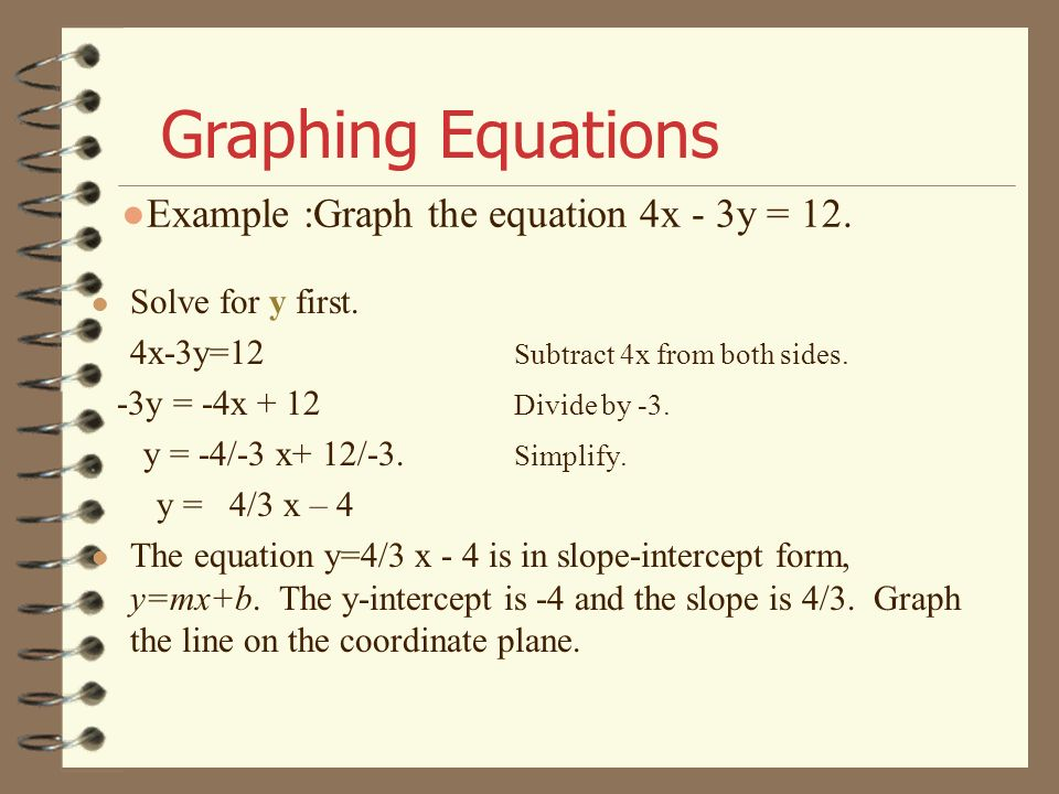 Example :Graph the equation 4x - 3y = 12.