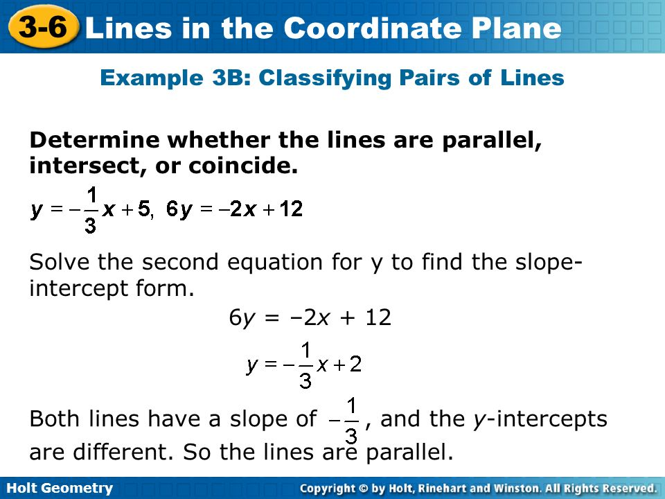 Example 3B: Classifying Pairs of Lines