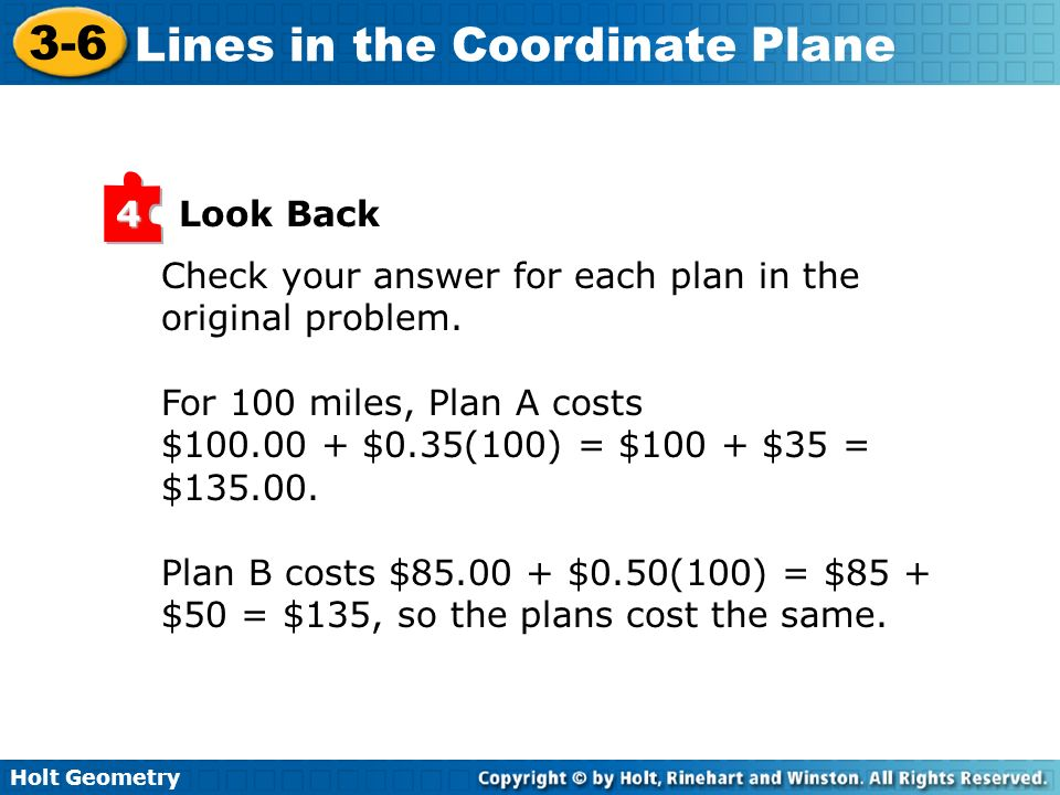Look Back 4. Check your answer for each plan in the original problem. For 100 miles, Plan A costs.