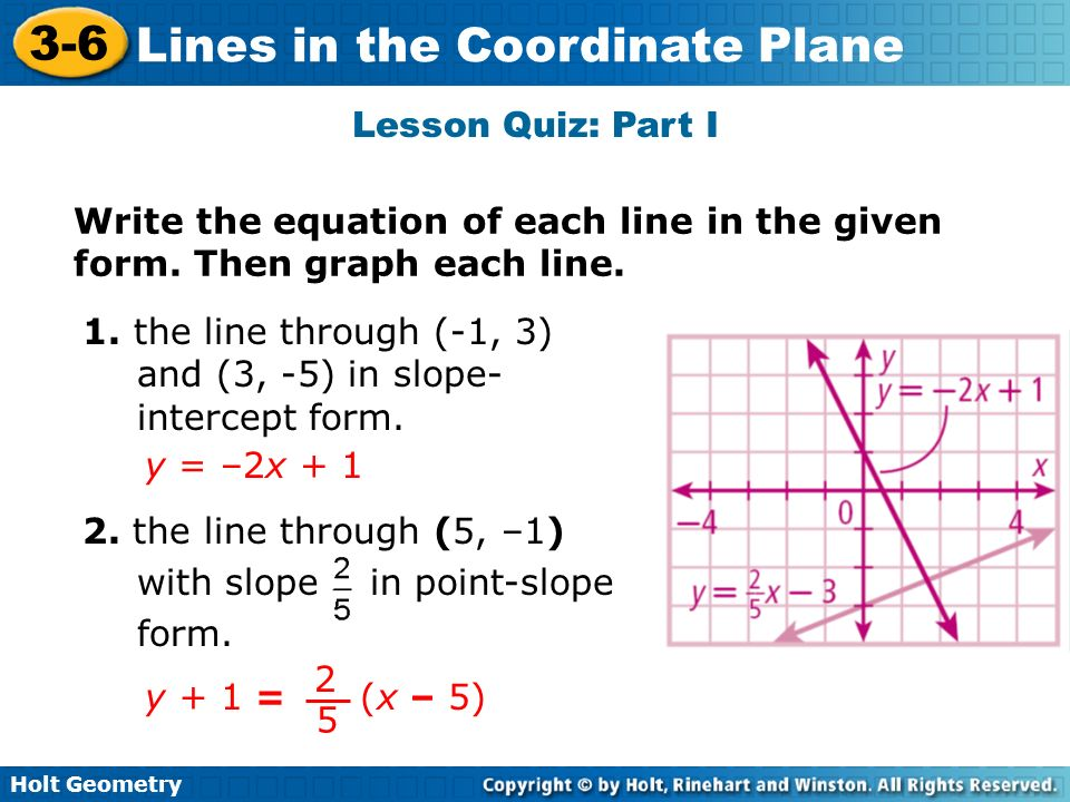 Lesson Quiz: Part I Write the equation of each line in the given form. Then graph each line.