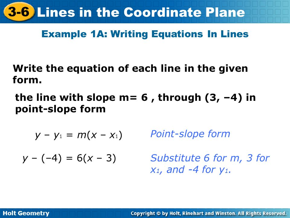 Example 1A: Writing Equations In Lines