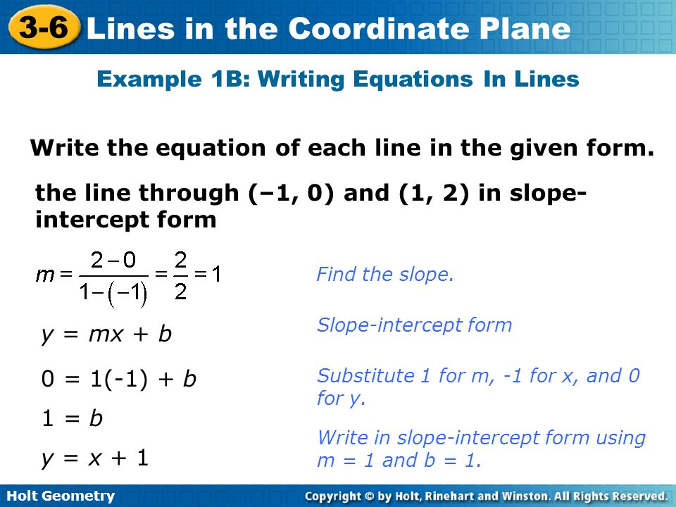Example 1B: Writing Equations In Lines