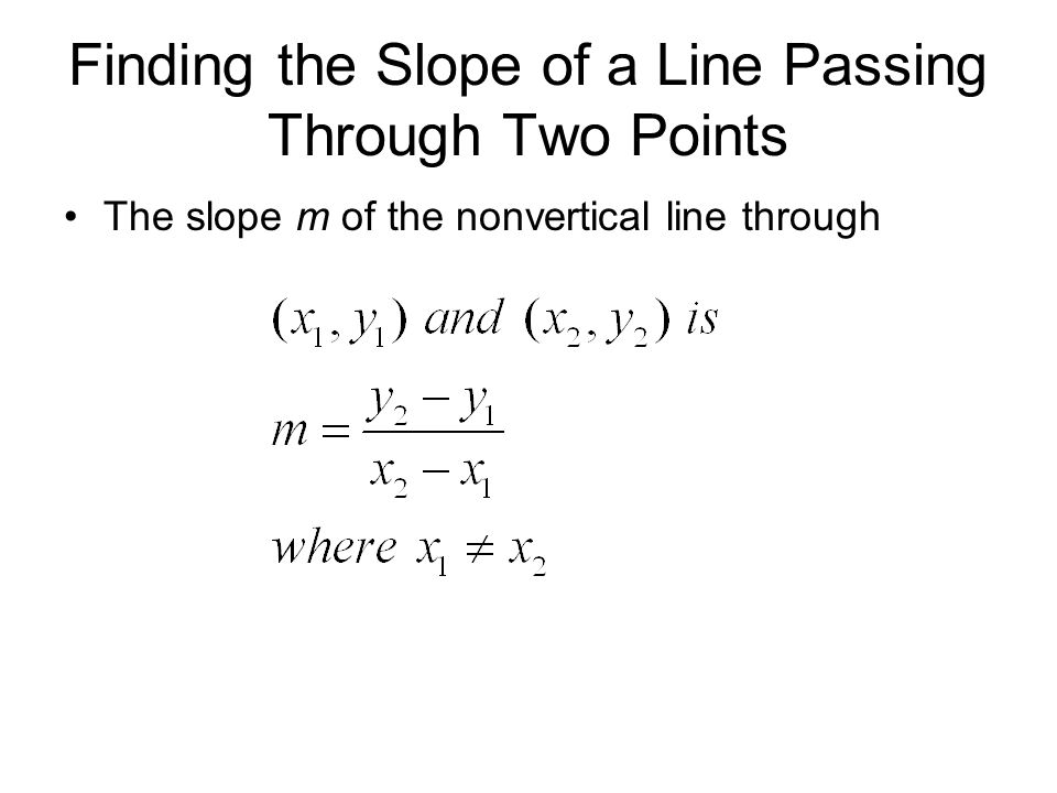 Finding the Slope of a Line Passing Through Two Points