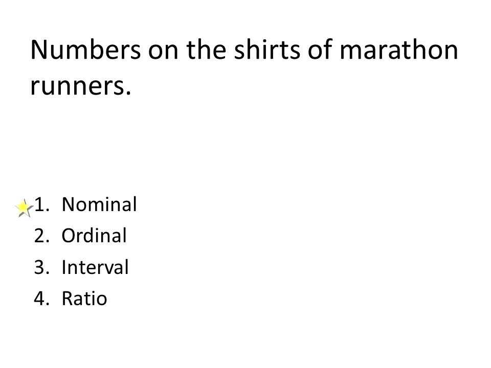 Numbers on the shirts of marathon runners.