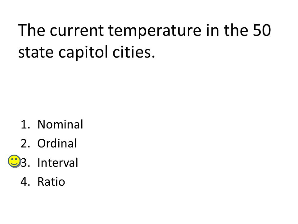 The current temperature in the 50 state capitol cities.