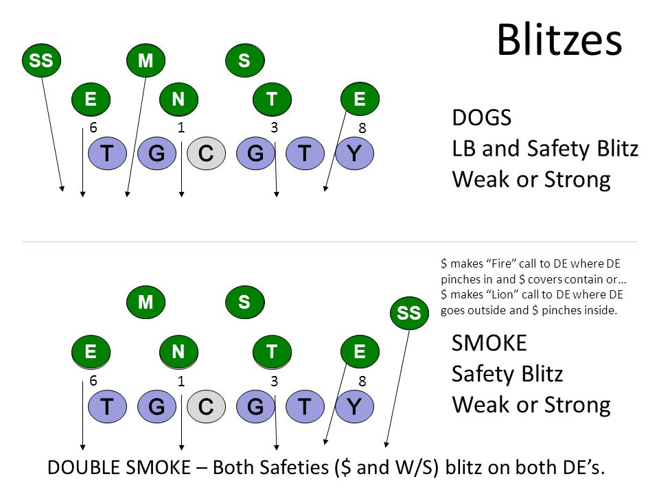 Blitzes DOGS LB and Safety Blitz Weak or Strong SMOKE Safety Blitz