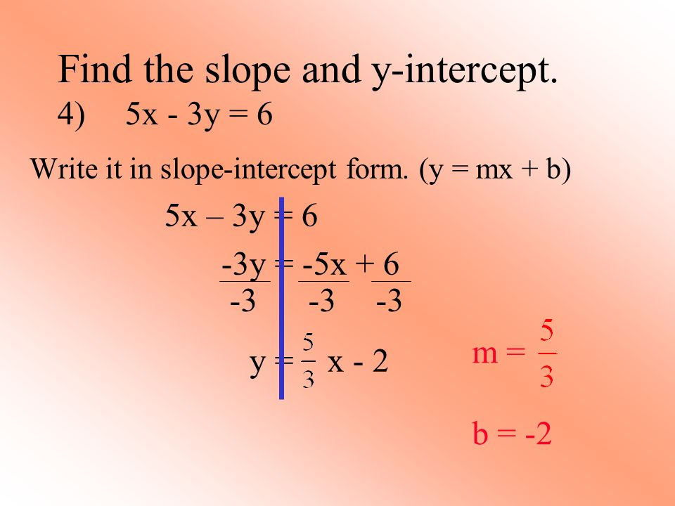 Find the slope and y-intercept. 4) 5x - 3y = 6