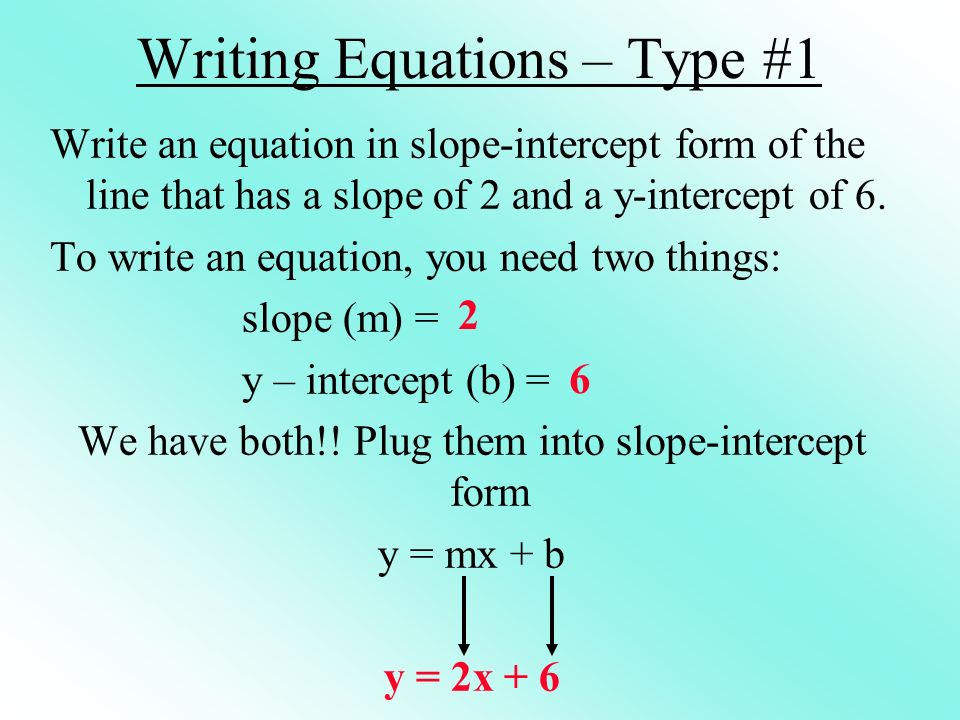 Writing Equations – Type #1