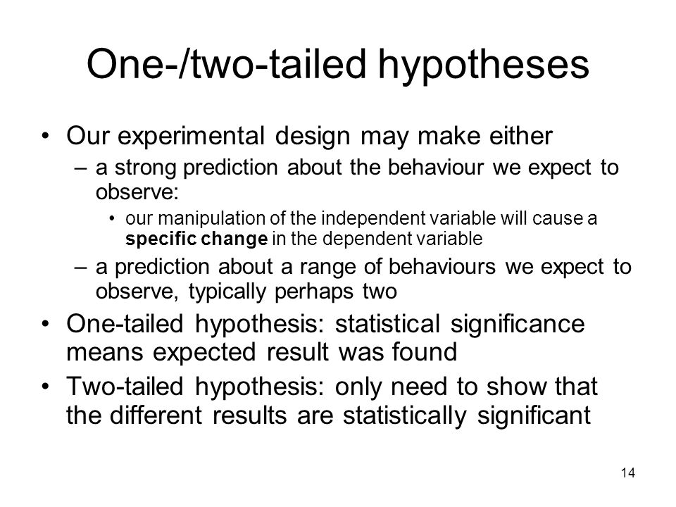 One-/two-tailed hypotheses