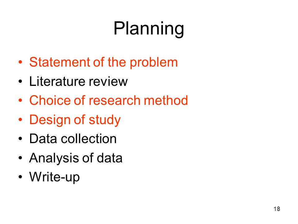 Planning Statement of the problem Literature review