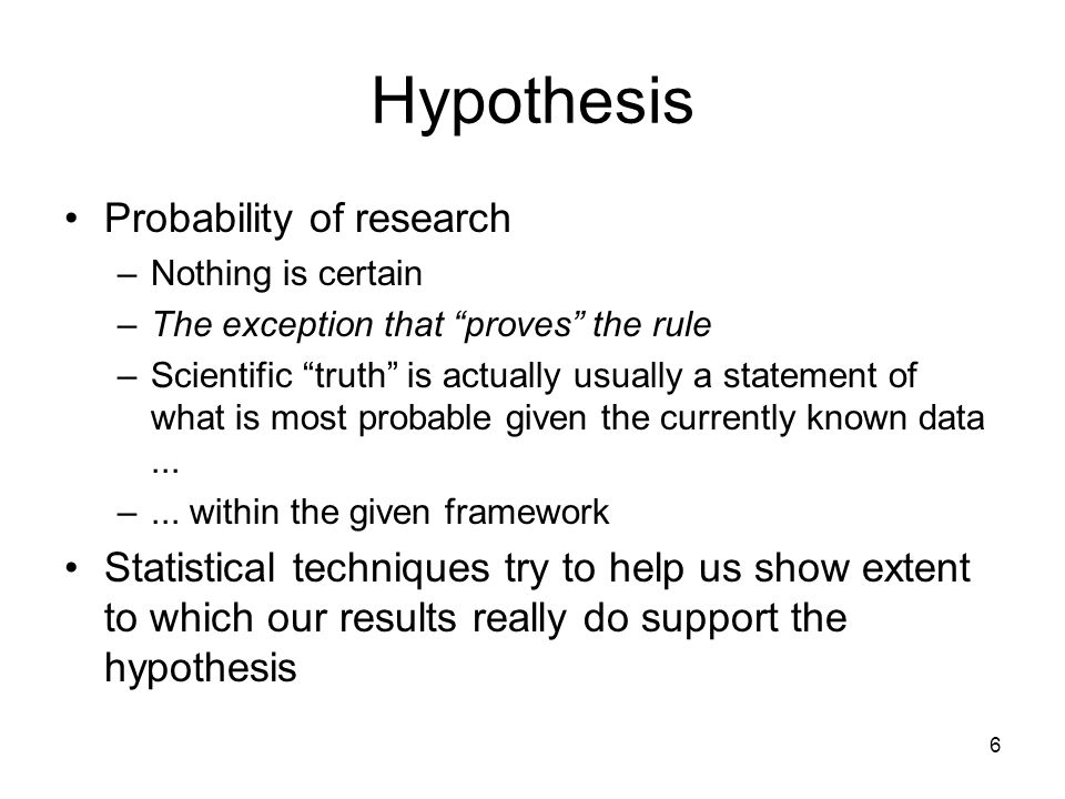 Hypothesis Probability of research