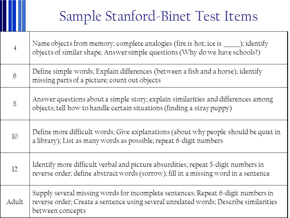 Sample Stanford-Binet Test Items