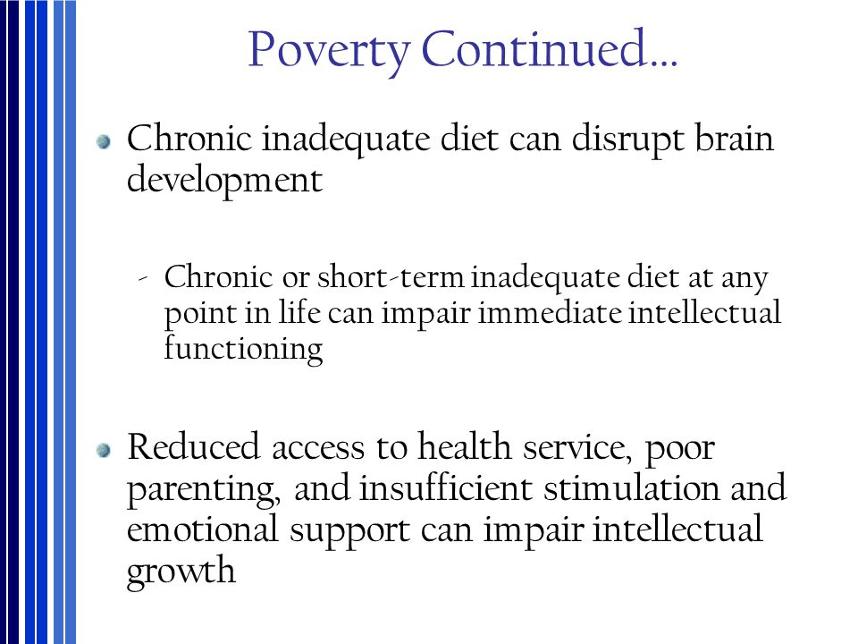 Poverty Continued… Chronic inadequate diet can disrupt brain development.