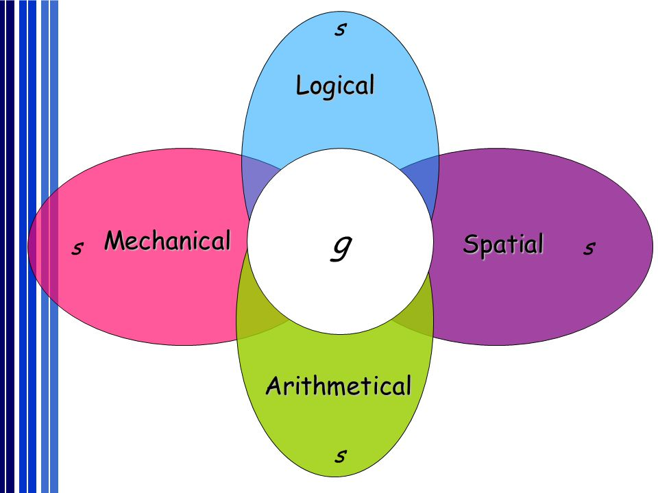g Logical Mechanical Spatial Arithmetical s s s s